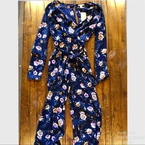 NWT Francesca's navy floral jumpsuit